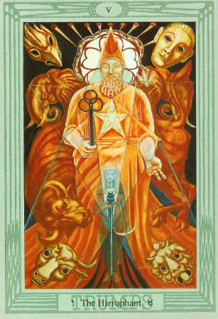 The Hierophant, Thoth Tarot by Aleister Crowley and Lady Frieda Harris, published by US Games Systems.
