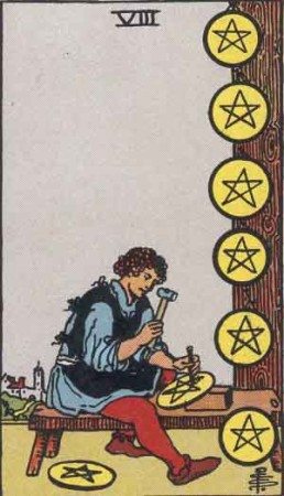 RWS 8 of Pentacles