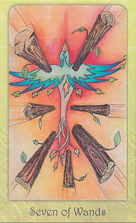 """Seven of Wands"" from the Dream Raven Tarot by Beth Seilonen, published by Schiffer Books."