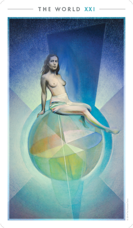 """The World"" from The Fountain Tarot by Jonathan Saiz, Jason Gruhl, Andi Todaro. Self-published."