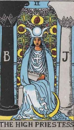 """The High Priestess"" from the Rider-Waite-Smith Tarot by Arthur Edward Waite and Pamela Colman Smith, 1909 Pamela-A from Sacred Texts."
