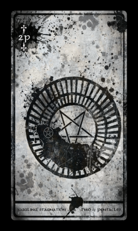 Two of Pentacles from the Darkana Tarot